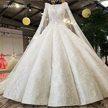 LS02174 cap sleeves wedding dress rhinestone appliques white lace latest decent ball gown wedding dresses 2018 new bridal gown