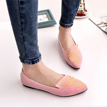 Pink Point Toe Butterfly Embroidery Casual Flat Shoes
