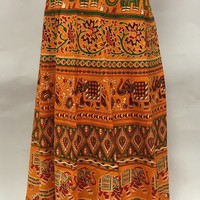 Long Indian Wrap Skirt in Cotton with Elephant and Camel Vintage Print - Orange