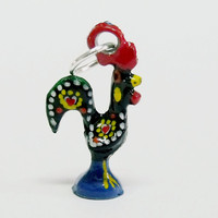 Portugal rooster Folk Galo Barcelos charm jewelry Black tiny bracelet Good luck charm made in Portugal