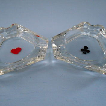 Bridge Ash trays 1950's set of 2 Hearts & Clubs