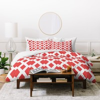 Lisa Argyropoulos Daffy Lattice Coral Duvet Cover