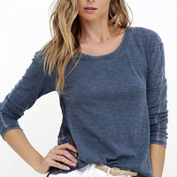 White Crow Desert Dust Washed Blue Long Sleeve Top