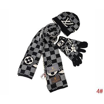 LV tide brand female fashion contrast color striped hat scarf gloves three-piece 3#