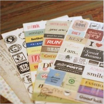 6 pcs/lot (1 bag) Cute Cartoon Paper Sticker Vintage Retro Stamp Sticker for Diary Scrapbooking Decor Free shipping 505