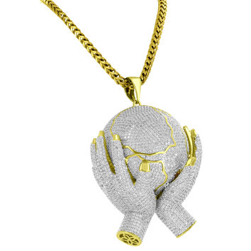 "Custom Hands Holding Globe Pendant 14k Gold Finish with 36"" Steel Franco Chain"