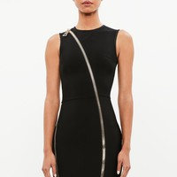 Missguided - Peace + Love Black Exaggerated Zip Bandage Mini Dress