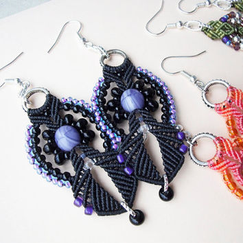Micro macrame earrings - Black Purple Violet Bohemian Free Spirit