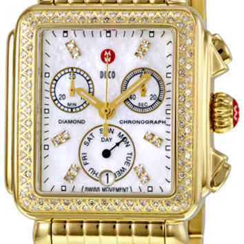 Michele Deco Day Gold-tone Diamond Dial Watch MWW06P000100