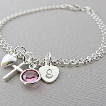 First Communion Gift, Girls First Communion Jewelry, Religious Bracelet, Faith Jewelry, Christian Jewelry, Baptism Gift, Communion Bracelet