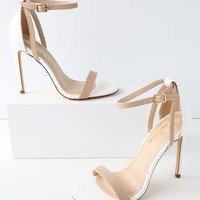 Sila White and Nude Snake Ankle Strap Heels