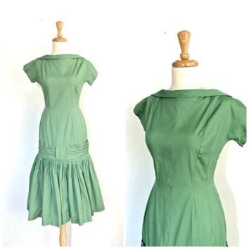 1960s Drop Waist Dress - cocktail dress - green tea dress - holiday - fit and flare - S M
