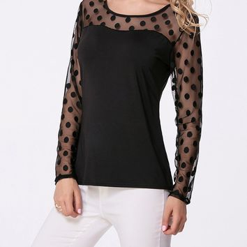 Round Neck Patchwork See-Through Polka Dot Long Sleeve T-Shirt