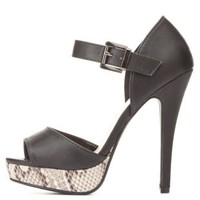 Black Two-Piece Peep Toe Platform Heels by Charlotte Russe