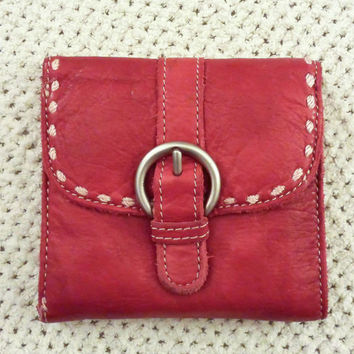 Vintage 90s Red Leather Wallet from The Gap, Change Purse, Coin Purse, Tri Fold Wallet, Womens Wallet