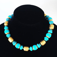 Modern Vintage 1980s MONET Turquoise and Decorated Gold Beaded Necklace