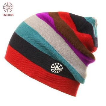 ac NOOW2 SNSUSK Brand hat Skating Lot Caps Skullies And Beanies For Men Women Winter Snowboard Rainbow Color Hip Hop Caps 02-9072