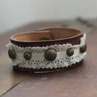 Boho/ Leather/ Brown/ Lace/ Antique Brass/ Cuff/ Bracelet