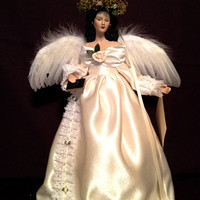 Dark Haired Angel in Ivory Latina Inspired Christmas Tree top OOAK Porcelain Doll Free Personalization