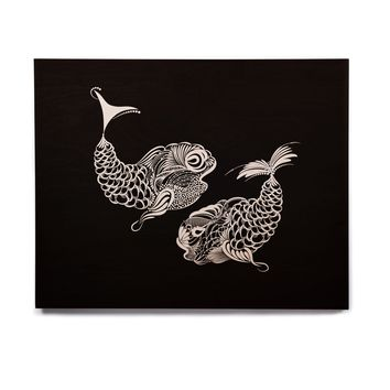"Maria Bazarova ""Pisces Horoscope Sign"" Black White Vector Birchwood Wall Art"