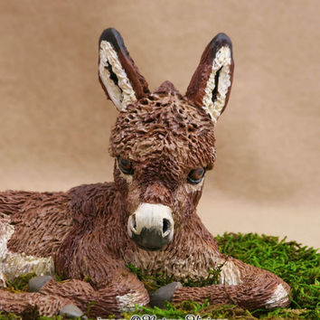 Donkey Art Sculpture Polymer Clay Animal Figure OOAK Miniature Donkey Figurine