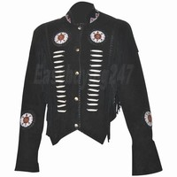 Women Fringe Western Suede Leather Jacket with Bones and leather Fringe Jacket