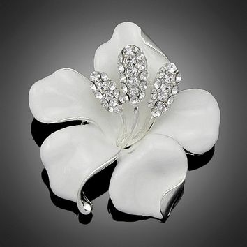 Womens White Enamel Rhinestone Crystal Lily Flower Brooch