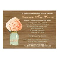 Peach Hydrangea & Mint Mason Jar Bridal Shower Invites