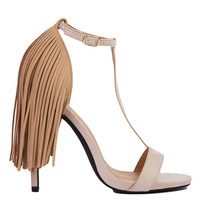 Privileged by J. C. Dossier Strada Fringe Nude T-Strap Heeled Sandals