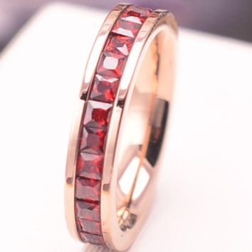 A row of 18k rose gold plated diamond drill full Korean fashion index finger ring female ring