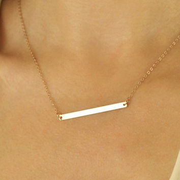 Skinny Rose Gold Bar Necklace, geometric jewelry, dainty delicate necklace, horizontal bar, trendy necklaces, rose gold necklaces //N-130