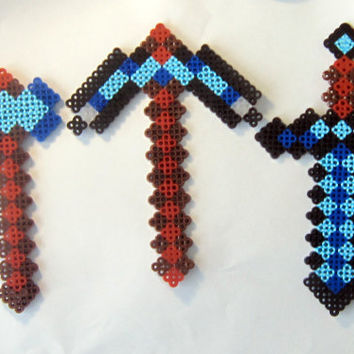 Minecraft Inspired Diamond Pick Axe Perler Bead Sprite or Magnet
