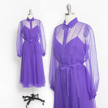 Vintage 1960s Dress - Purple Silk Chiffon Illusion Full Skirt Shirt Waist Victoria Royal - Medium