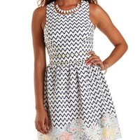Ivory Combo Floral-Bordered Chevron Skater Dress by Charlotte Russe