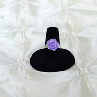 Bridesmaid Ring Purple Rose Adjustable Silver Band for Lupus Awareness