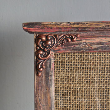 """Unique Picture Frame 4""""x6""""-Wood-Up-cycled PaintDistressed Coral &Grey-Adorned OrnateCopper Ox Plate Repousse Brass Piece"""