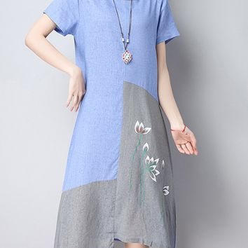 Streetstyle  Casual Asymmetric Hem Color Block Printed Round Neck Maxi Dress