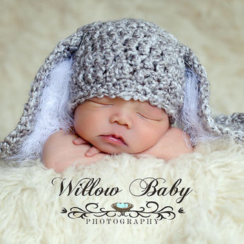Baby Bunny Hat & Diaper Cover Grey and White, Floppy Ears and Fuzzy Trim and big Fluffy Tail