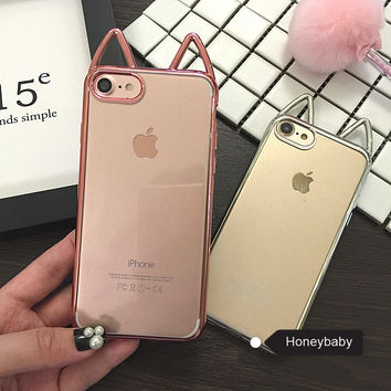 Top quality 3D Plating Cute Phone Cases For Apple iPhone 6 6s s plus 6plus 7 7 Plus