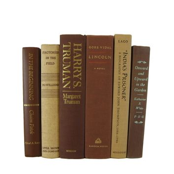 Brown Books for Farmhouse Vintage Books for Decor, S/6