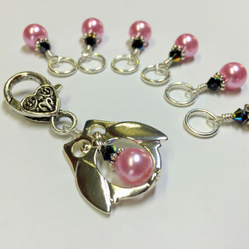 Owl Stitch Marker Holder Set in Pink Pearl