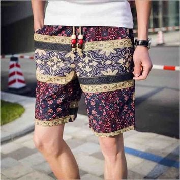 2018 Men's linen shorts summer new  ethnic style Surfing shorts color stitching loose male breathable shorts big size M-5XL