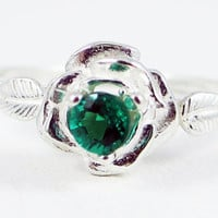 Rose Emerald Sterling Silver Ring