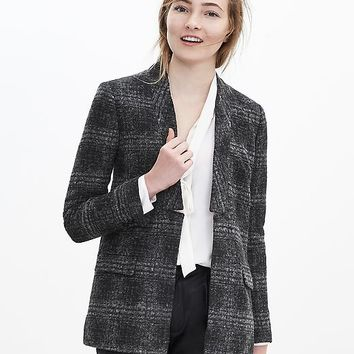 Banana Republic Womens Textured Plaid Blazer
