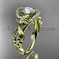 14k yellow gold flower diamond unique engagement ring ADLR211