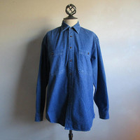 Vintage 80s Jean Shirt Eatons North Country Mens Blue Cotton 1980s Denim Western Top Medium