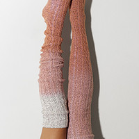 Marsala Dip Dye Marled Cable Knit Thigh High Socks