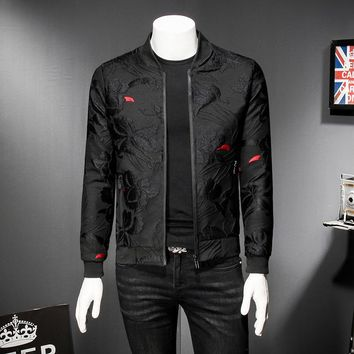 Puff  Jacquard Black Bomber Jacket Men Spring Autumn Men Casual Jacket Coat Flower Slim Fit Pattern Bomber Jacket Men 5xl