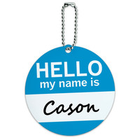 Cason Hello My Name Is Round ID Card Luggage Tag