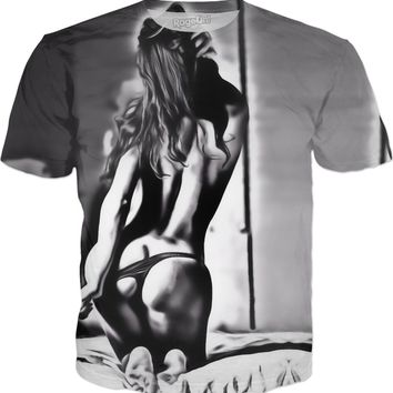 Sensual black and white erotic, girl tease in bedroom, kinky booty view tee shirt design